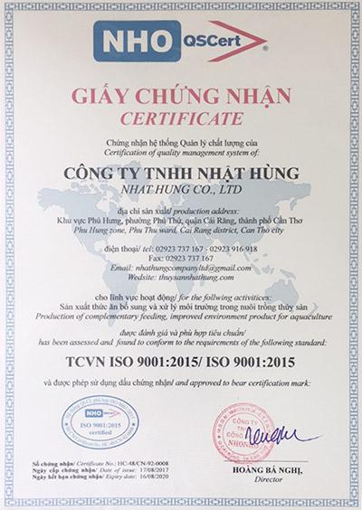 chung nhan ISO nhat hung